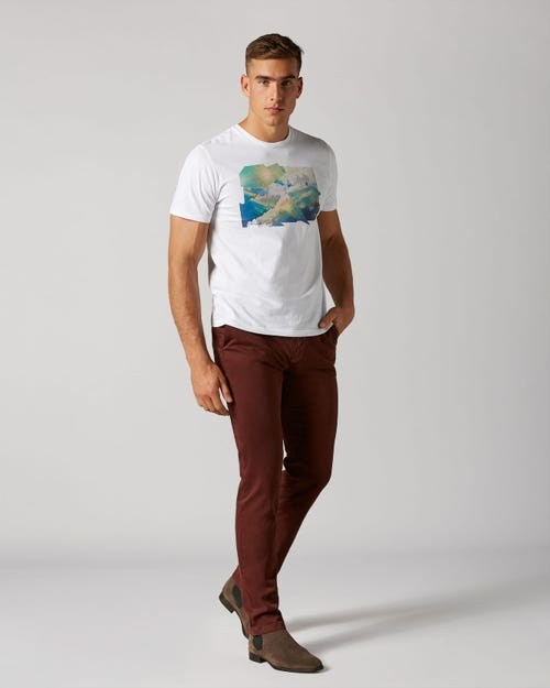 EXTRA SLIM CHINO LUXE PERFORMANCE SATEEN BURGUNDY