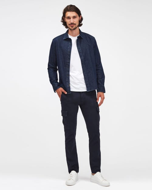 SLIMMY TAP. CARGO CHINO LUXE PERFORMANCE SATEEN NAVY