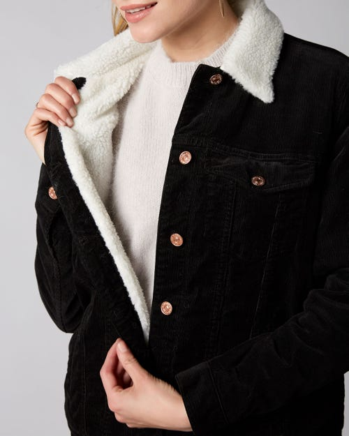 7 For All Mankind - Oversize Modern Trucker Corduroy Black With Teddy Shearling