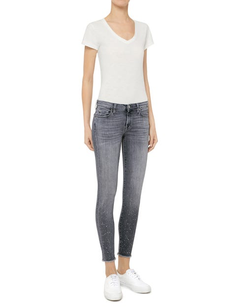 THE SKINNY CROP SLIM ILLUSION DAWN GLITTER FRAYED HEM