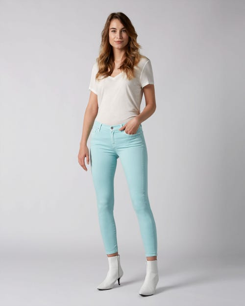 7 For All Mankind - The Skinny Colored Slim Illusion Aqua