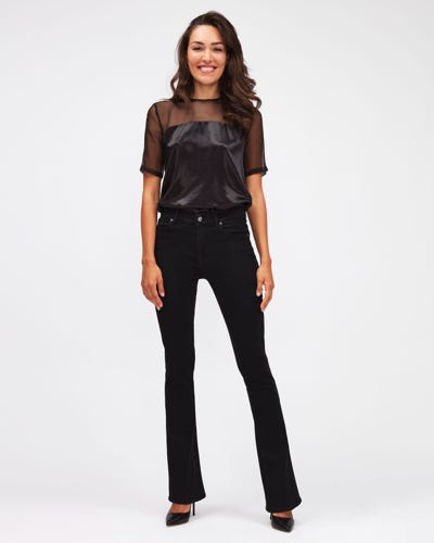 BOOTCUT BAIR RINSED BLACK WITH EMBELLISHED A POCKET