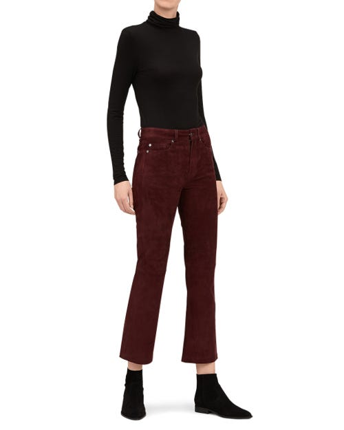 HIGH WAIST VINTAGE CROPPED BOOT SUEDE LEATHER PLUM