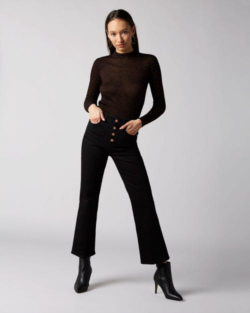 7 For All Mankind - High Waist Vintage Cropped Boot Noir With Exposed Buttons