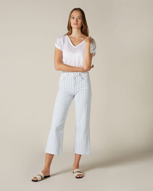 CROPPED ALEXA BABY STRIPES WHITE AND LIGHT BLUE