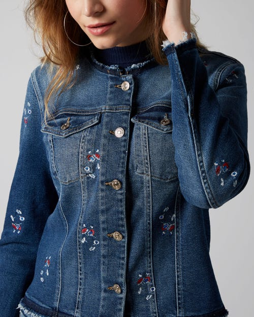 DENIM JACKET LUXE VINTAGE PACIFIC GROVE WITH DITSY FLOWERS