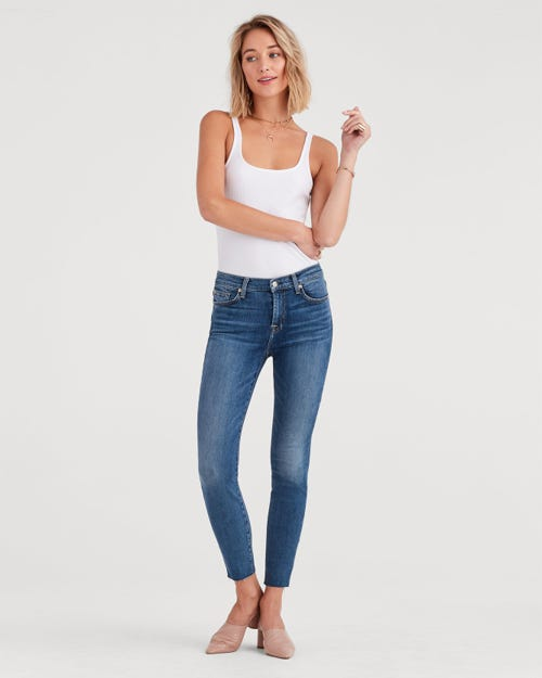 7 For All Mankind - The High Waist Ankle Skinny B(Air) Authentic Luck