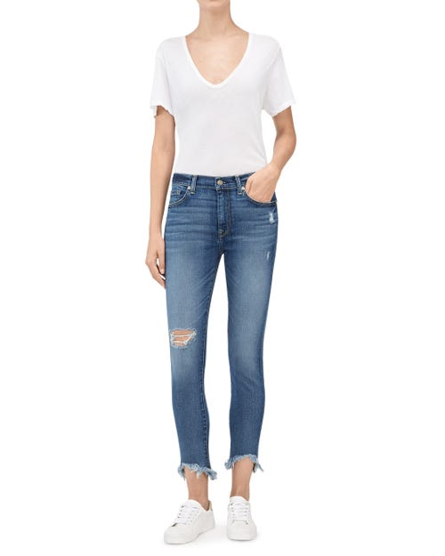 HW ANKLE SKINNY WITH DESTROY & WAVE HEM CANYON RANCH