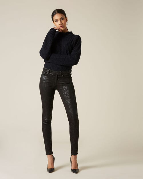 7 For All Mankind - The Skinny Coated Snakeskin Black