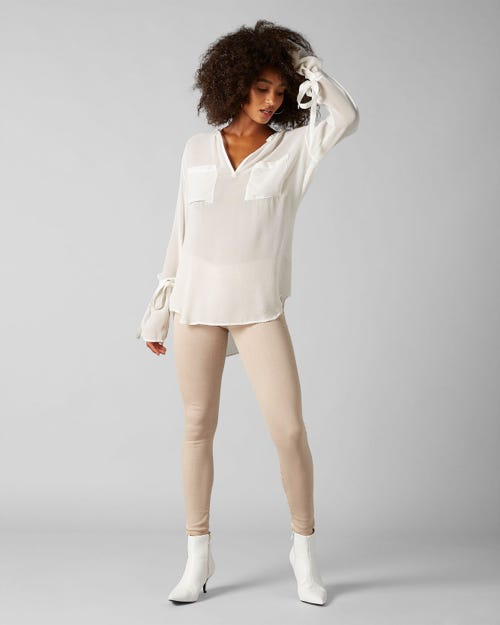 7 for all Mankind - THE SKINNY COLORED SLIM ILLUSION LATTE WITH EMBELLISHMENT