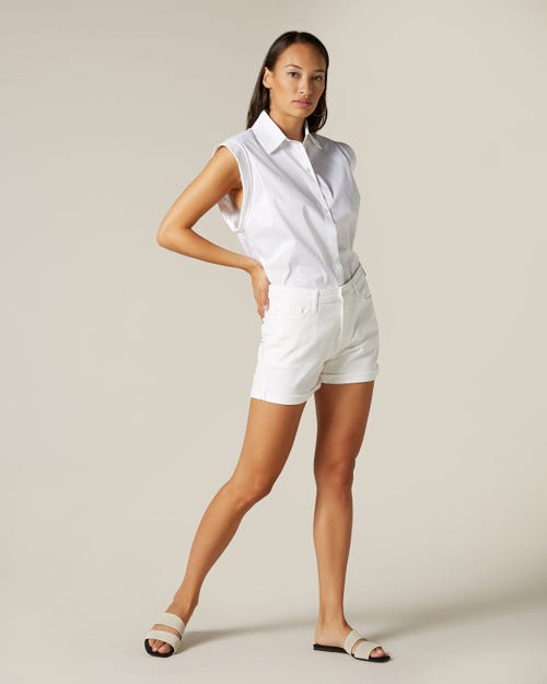 BOY SHORTS PURE WHITE WITH EMBELLISHED SQUIGGLE