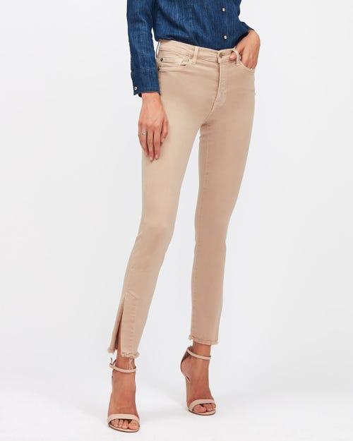 HW SKINNY CROP COLORED SLIM ILLUSION SANDCASTLE WITH SPLIT FRAYED HEM