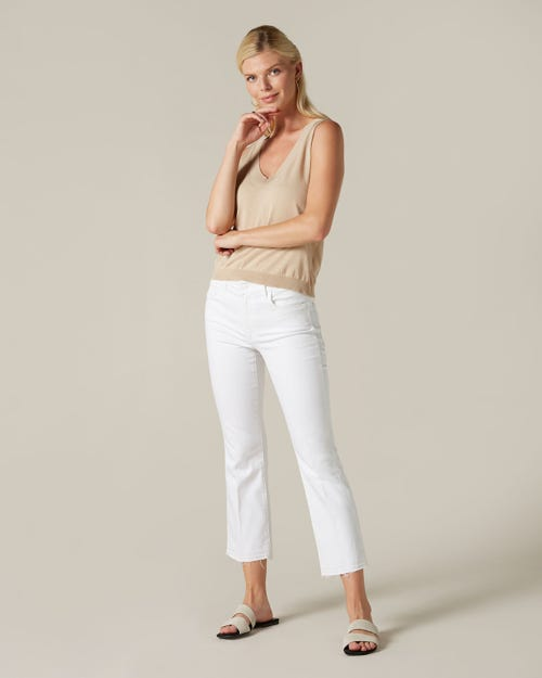 CROPPED BOOT UNROLLED SLIM ILLUSION PURE WHITE
